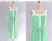 45% OFF SALE.... vintage 1970s day dress • drawstring dress • 70s sun dress • medium