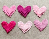 Tickled Pink - Tipsy Hearts - 36 Wool Blend Die Cut Felt Shapes