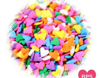 Bright Rainbow Heart Sprinkles, Rainbow Sprinkles, Heart Cupcake Sprinkles, Heart Cake Pops Sprinkles, Edible Sprinkles, Easter Sprinkles