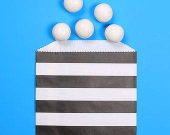 Black Favor Bags, Halloween Treat Bags, Black Goodie Bags, Wedding Favor Bags, Striped Favor Bags, Party Favor Bags, Treat Bags (12)