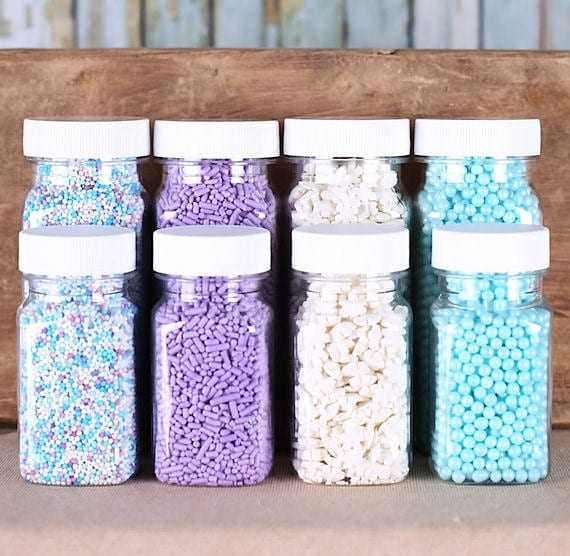 Frozen Winter Sprinkles Set with Snowflake Sprinkles, Light Purple Jimmies, Baby Blue Sugar Pearls, Non Pareils (4 jars)