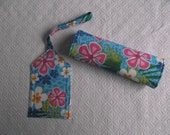 Turquoise Flowers Luggage Tag and Handle Wrap Set