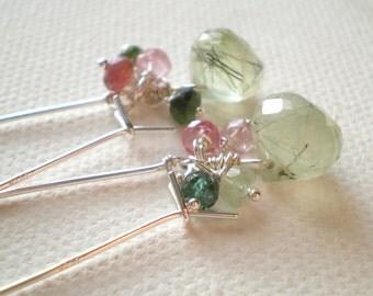 Glowing Rutilated Prehnite Onion Teardrop Earrings in Sterling Silver with Watermelon Tourmaline. Spring time accessory.