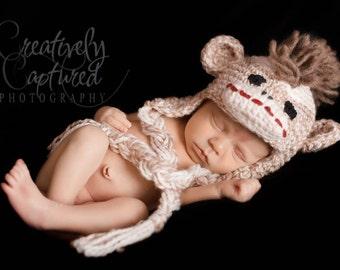 Crochet PATTERN Crochet Sock Monkey Hat Pattern Newborn to Adult