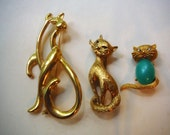 Vintage Lot of  Cat Kitty Kitten Brooch Pins Jelly Belly Monet Crystal