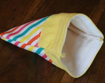 Reusable Snack Bag, reusable sandwich bag, Yellow snack bag with rainbow stripes