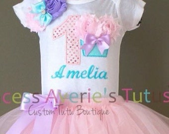 Custom Embroidery Sparkle number and 3D cupcake