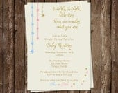 Twinkle Little Star Gender Reveal Party Invitations,  Set of 10 Printed Cards, Free Shipping, TWSGG, Twinkle Star Glitter, Gold, Blue, Pink