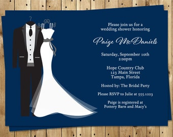 Wedding Shower Invitations, Navy & White, Couples, Bridal Shower, Tux and Gown, 10 Printed Invites, Free Shipping, SAIDN
