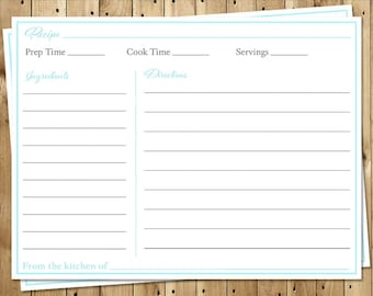 Bridal Shower Recipe Cards, Wedding, Aqua, Gray, Blue, Teal, White, Set of 24 Printed Cards, FREE Shipping, SIGAG, Simple Gown Aqua Gray