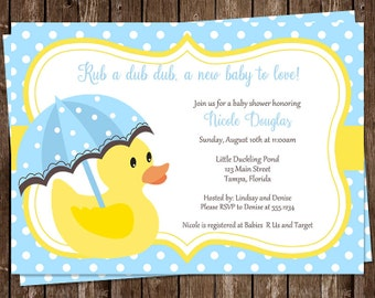 Rubber Ducky, Baby Shower Invitations, Neutral, Boys, Blue, Yellow, Umbrella, 10 Printed Invites, FREE shipping, Little Ducks, customizable