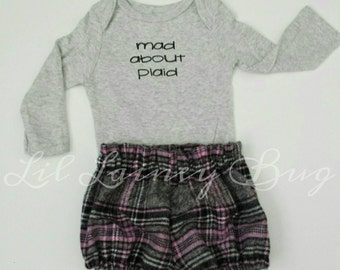 NEW Mad About Plaid SET -High Waisted Shortie Long Sleeve Shirt  - Bloomers Shorts - Baby Girl Plaid Flannel - Fall Winter Family Pictures