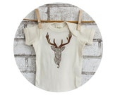 Wood Grain Stag Head Baby Onepiece, Short Sleeved, Hand Printed, Wall Mount, Christmas Reindeer, Holiday, Organic Cotton, Natural Cream Top