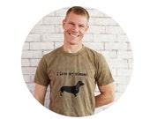 Dachshund I Love My Wiener Funny Men's Graphic Tshirt, Wiener Dog, Dog Lover, Family Pet, Animal Humor, Mottled Olive Drab, Unisex Clothing