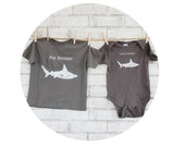 Shark Shirt And Baby Onepiece Set, Big Brother, Little Brother, Dark Grey Sibling shirt Hand Screenprinted, Short Sleeved, Ocean Animal