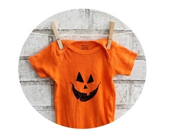 Pumpkin Face Baby Onepiece, Baby Halloween Infant Creeper, Orange or custom colors, Jack O Lantern