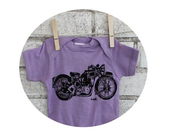 Motorcycle Infant Creeper, Lavender Purple baby bodysuit, Cotton, great baby shower gift