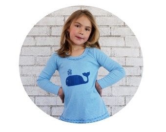 Whale Cotton Toddler Dress, Light Blue Hand Printed Clothing, Gift For Little Girl, Ocean Animal, Beach Dress, Long Sleeved, Sea Creature