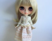 Blythe Long Sleeve Dress : Cream Japanese Fabric , Vintage  Inspired