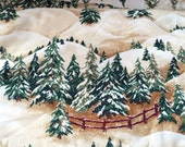 Christmas fabric winter fabric , OOP, rare, snowy Pine trees fabric, Christmas Street  by Thimbleberries for RJR, by the yard