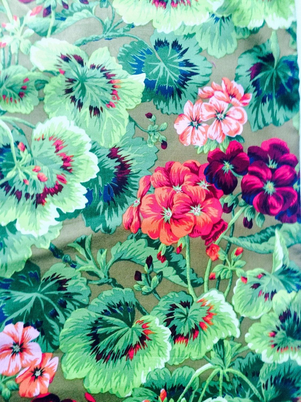 Philip Jacobs Geranium Fabric Rare Oop Green Red Floral