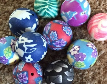 Mixed set of 10 polymer clay round beads. 15/16mm