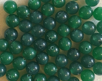 25 round 8mm Dark green jade beads