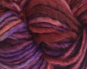 Bulky / Chunky Weight Hand Painted Wool Yarn Pencil Roving in Pie Season 60 yards Hand Dyed Blush Red Purple