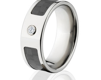 Carbon Fiber Rings, Diamond Carbon Fiber Wedding Rings  - Sku: 8F_Bezel_Dia_CarbonFiber-Size15.5