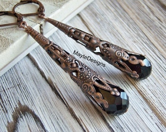 Black Earrings/Antique Copper Filigree Long Cone Earrings/Black Glass Earrings/Dangle Earrings