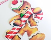 Christmas Gift Tags - Gingerbread Man - Set of 3 - Retro Gingerbread  - Candy Can Man - Retro Xmas Tags - 1950's Xmas Kitsch - Cookie Tags