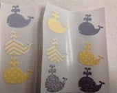 50 pc Whale Stickers Yellows Grays Whites New Baby