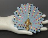 Light Blue Art Deco Fan Cocarde Cockade With Multi Color Woven Pattern