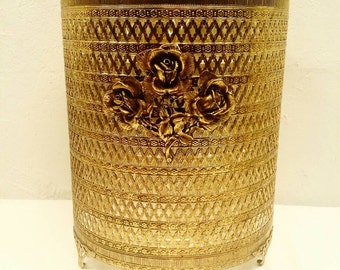 Mid Century Gold and Roses Metal Footed Trashcan