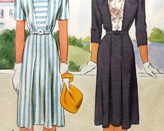 Vintage Dress Sewing Pattern McCalls 5143 Size 14 1940's