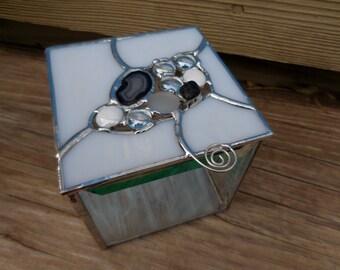 Stained Glass Box - Keepsake Box - Trinket Box - Decorative - Gift - Christmas - Organic - Handmade - Geode