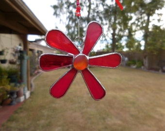 Stained Glass Car Dangle - Suncatcher - Red - Fun - Gift