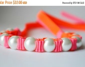 Clearance Sale Twillypop Billie NEON  Ribbon Bracelet in Tutti Frutti (hot) Pink and NEON (safety cone) Orange and Pearl  Jewelry. Ribbon Br