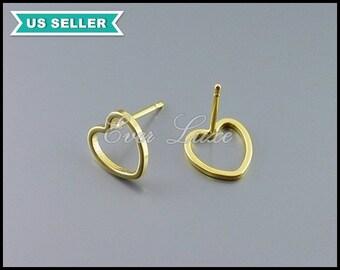 4 sweet heart silhouette stud earrings in matte gold, 9mm small heart stud earrings, gold heart earrings 1072-MG-9