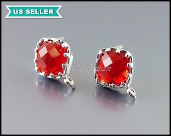 1 pair bright red & silver earrings, diamond shaped glass crystal stone earrings, supplies 5136R-BR