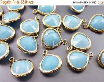 15% SALE 2 sky blue jade 13mm glass pendants, teardrops with gold bezel frame, jewelry supplies 5064G-BJ-13 (bright gold, blue jade, 13mm, 2