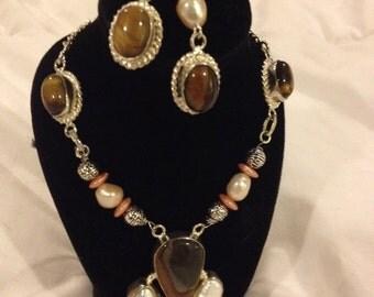 Tiger eye stone, jasper and biwa pearl necklace and earring set
