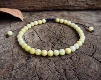 Lemon Jade Unisex Knot Anklet, 6mm beads