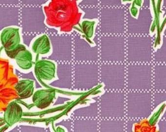 Purple Rose Oilcloth Fabric