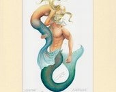 "Mermaid Martha & Merman Neptune Art Signed Robert Kline 11"" x 14"" Matted Print Merfolk Nautical Beach House Fantasy Home Decor Collectible"