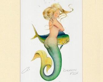 "Mermaid Cindy Dolphin Fish Mahi-Mahi Art Signed Robert Kline Matted 11 x 14"" Print Fantasy Fishing Gift Beach House Nautical Home Boat Decor"