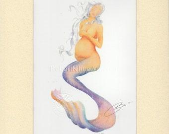 "Pregnant Mermaid Mother Nora Art Signed Robert Kline Matted 8 x 10"" Print Nautical Home Beach House Nursery Decor Maternity Baby Shower Gift"