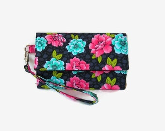 Cushioned Trifold Cell Phone Wallet - Gray Floral iPhone Wristlet Wallet - Padded Phone Pouch - Pink Turquoise Wristlet Wallet - Gray Clutch