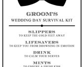 """Instant Download - DIY Printable Groom Survival Kit Sign... Wedding and Event Signage - 5"""" x 7"""""""
