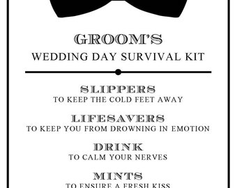 "Instant Download - DIY Printable Groom Survival Kit Sign... Wedding and Event Signage - 5"" x 7"""